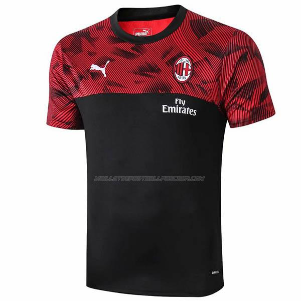 maillot training ac milan noir rouge 2019-2020